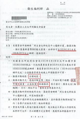 社團法人臺北市照顧生命協會104年公益勸募捐募成果 公告